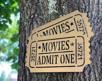 Admit 1 Movie Ticket Metal Art - Bad Dog Metalworks Movie Theater Decor - Home Theater Gifts - Theater Wall Art - Game Room - Man Cave Gifts