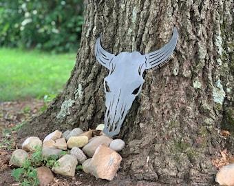 Longhorn Bull Skull Southwest Style Metal Art - Bad Dog Metalworks Home Decor - Cow Skull - Bull Head - Western Decor - Cattle Ranch Signs