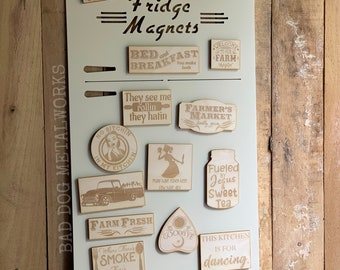 Retro Refrigerator Magnet Display for Storefront or Booth - Bad Dog Metalworks Home Decor - Makers and Crafters Magnet Display Sign