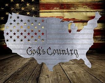God's Country US Outline - Bad Dog Metalworks Home Décor - Patriotic Décor - Patriotic Gifts - American Pride Metal Art - Americana Décor