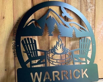 Stone Firepit Camping Monogram Sign - Personalized Metal Sign - Bad Dog Metalworks Home Decor - Monogram Gifts - Patio Decor - Camping Art