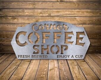Farmhouse Corner Coffee Shop Sign - Bad Dog Metalworks Home Decor - Coffee Shop Decor - Cafe Decor - Coffee Lovers Gifts - Coffee Bar Sign