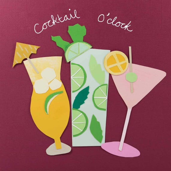 Handmade personalised /'Cocktail//Celebration/' Birthday Card Any name or message