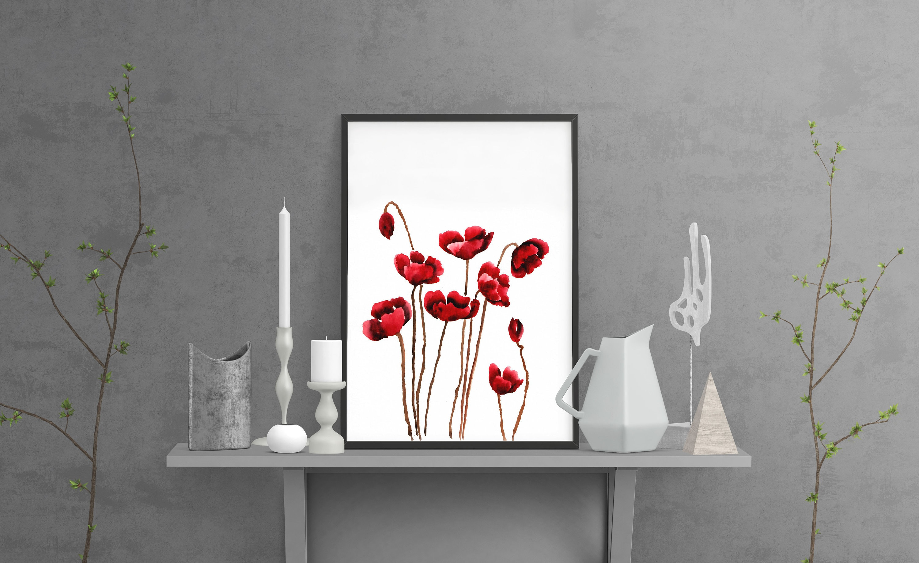 Hand Painted Watercolor Poppy Red Poppy Wall Art Poppy Home Etsy