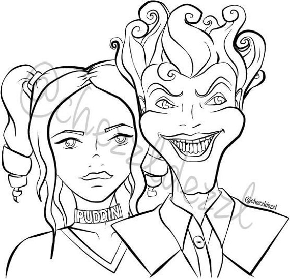- Harley Quinn And The Joker Coloring Page Digital Download Etsy
