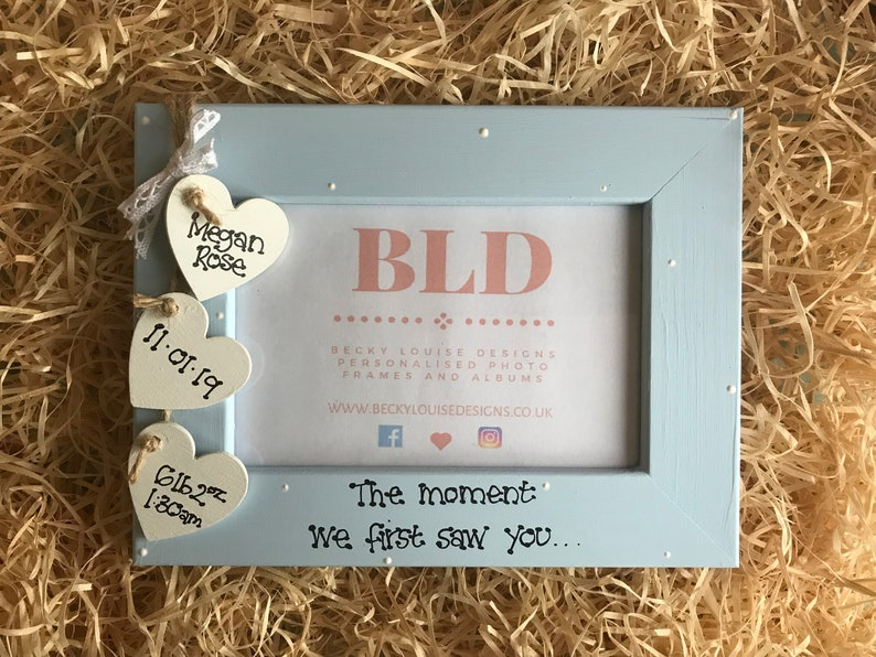Personalised Baby Girl Baby Boy First Photo Wooden Photo Frame Gift Keepsake Size 6x4 5x7 8x6 10x8 Any Wording