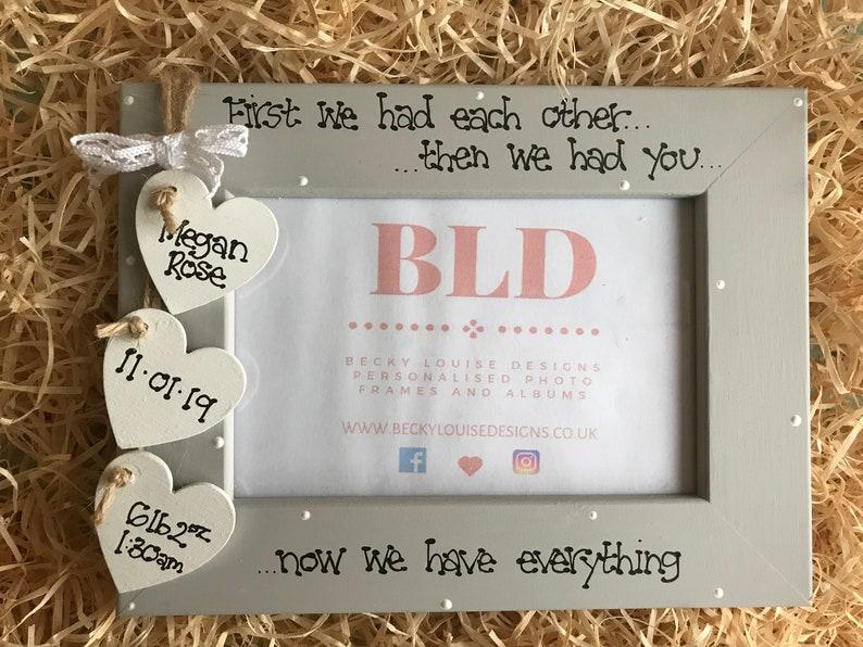 Personalised Newborn Baby Girl Baby Boy Family Wooden Photo Frame Gift Keepsake Size 6x4 5x7 8x6 10x8 Any Wording