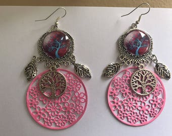 Pink tree earrings