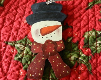 Snowman Ornament, Christmas Ornaments, Wood Ornament, Hand Painted Wooden Snowman (WD2)