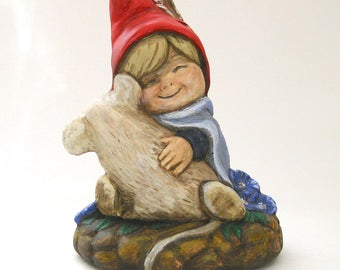 Gnome Boy with Mouse, Gnome Figurine, Red and Blue, Purple Flowers, Plaster, Hand Painted, Gnomes, Mouse