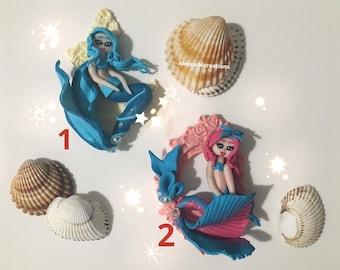 Mermaid pink and blue fimo, ciondolo sirene