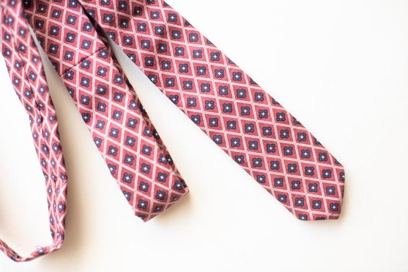 Grey and Blue Diamonds Slim Tie Pink Red
