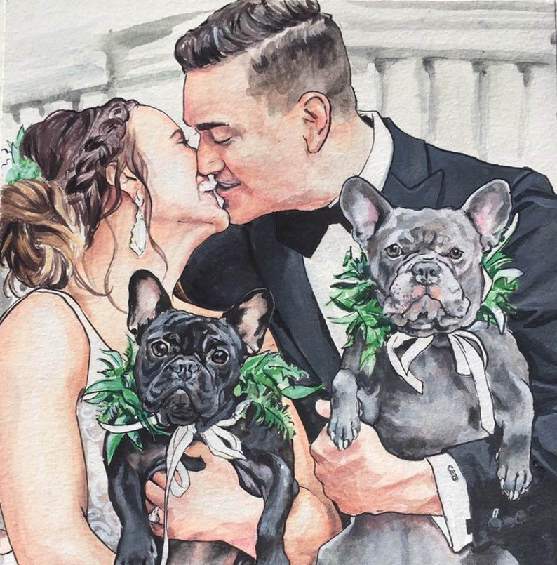 Custom Wedding Painting with dogs-French Bull Dog image 0