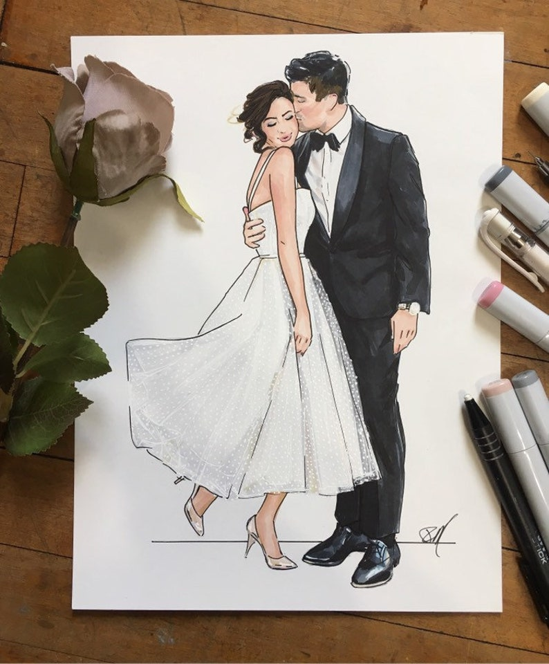 Custom Wedding Fashion Illustration-Bride and Groom image 0