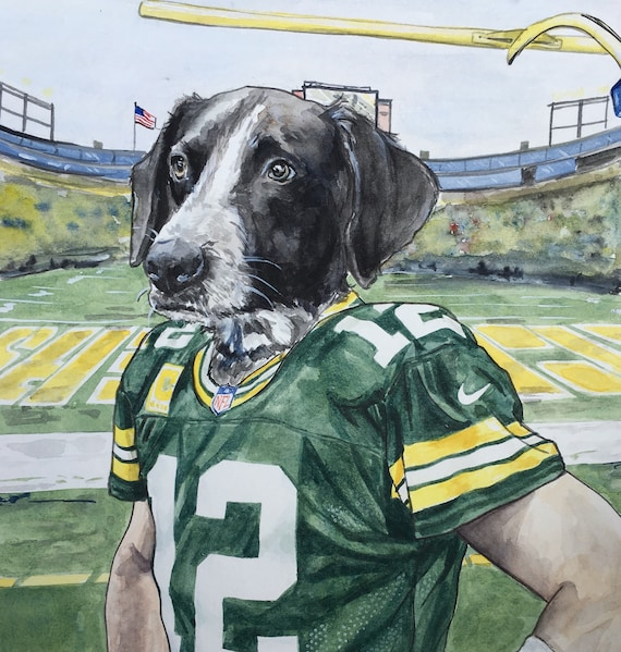 detailed pictures 39174 76a68 Painting of Dog Character-Aaron Rodgers-Green Bay Packers