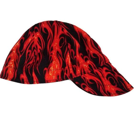 Handmade Welding Caps Welding Welder/'s Hat Orange Flames Lined Multi-Sized