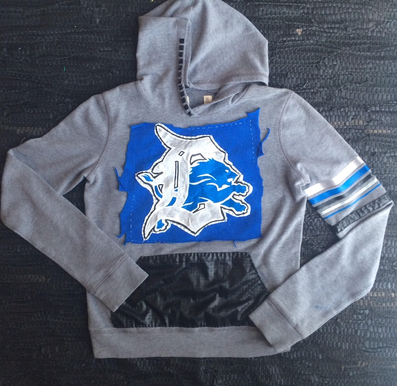 half off bbe46 bb6a8 Detroit Lions Hoodie Sweatshirt // Lions Shirt Womens XS \\ Detriot Hoodie  Womens Custom