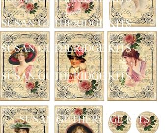 Vintage Ladies Tags Frames Digital KIT PDF