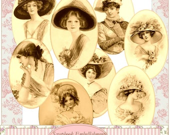 Instant Download Vintage Sepia Images Ladies  Frames Tags Embellishments Pdf