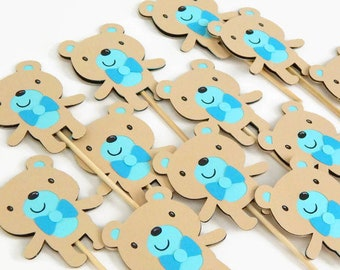 12 Blue Teddy Bear Cupcake Toppers, birthday party or baby shower cake decorations, blue teddy bear theme party decor, set of cake toppers