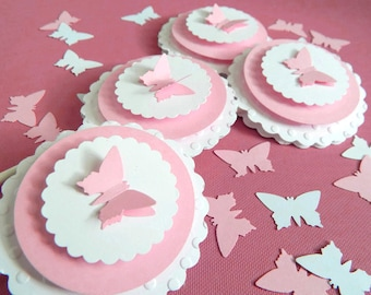 Butterfly Cupcake Toppers, pink birthday party or baby shower cupcake decorations, set of 12 embossed butterfly party cake toppers