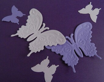 Purple Butterfly Die Cut Party Decorations, Birthday, Baby Shower, 36-Piece Set Scrapbook Embellishments, Butterfly Cut Outs, Table Confetti