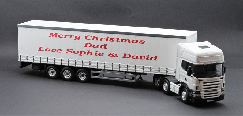 White Scania Lorry Truck 1/50 Scale 33cm Personalised with Any Name Message  Retirement Birthday Gift for Her Gift for Him Model Boxed Gift