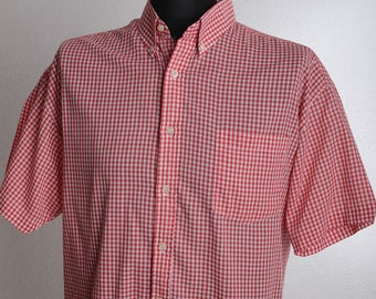 True Vintage Short Sleeve BEN SHERMAN Classic Red&White Checkered Button-Down-Shirt - ENGLAND-made - Sz. xl xxl