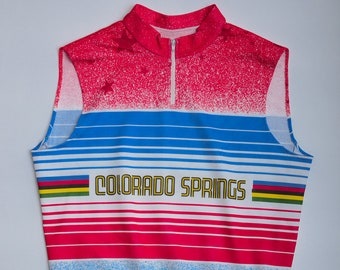 Vintage 80s-90s sleeveless Cycling Jersey COLORADO SPRINGS Italy-made Colorful Rainbow