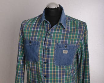 Vintage Long Sleeve RALPH LAUREN Denim & Supply Checkered Shirt Green Yellow Purple Sz. M