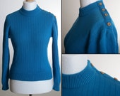 Vintage 70s Sweater with Mock Neck and Asymmetrical Shoulder Application with Decorative Buttons - All Wool - Made in Germany