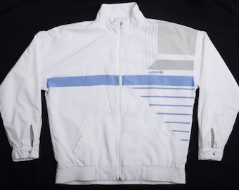 c44b590520877a Vintage 80s ADIDAS Tennis Track Jacket with Terry Cloth-Lining and  geometric design - Made in West-Germany - White-Blue-Grey - Sz. M
