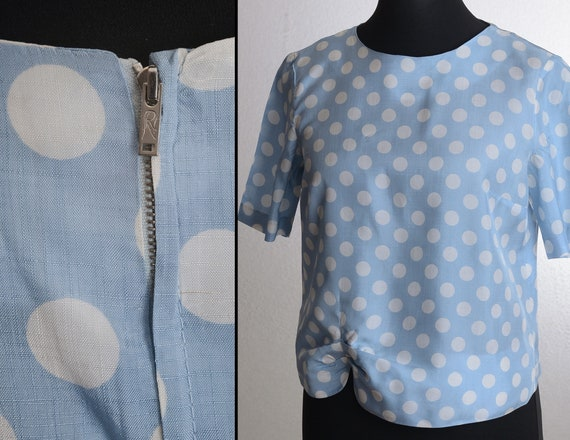 Vintage 50s Polka Dot Short Sleeve Blouse / Top w.
