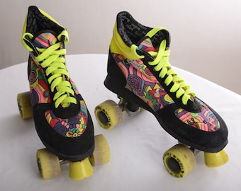 Vintage multicolor 80s-90s ROLLER SKATES by Saturn - Black-Neon Yellow-Pink-Red-Green - Sz. 40