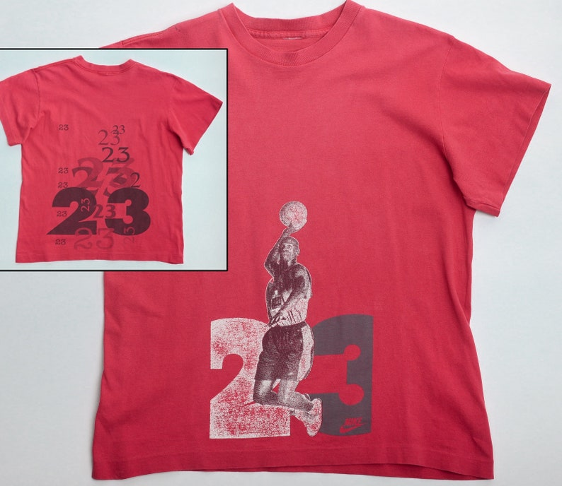 c16a89b025 Vintage 90s NIKE Michael JORDAN 23 T-Shirt with double | Etsy
