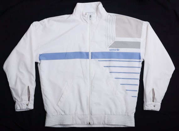 ec308f03eab4 Vintage 80s ADIDAS Tennis Track Jacket with Terry Cloth-Lining | Etsy