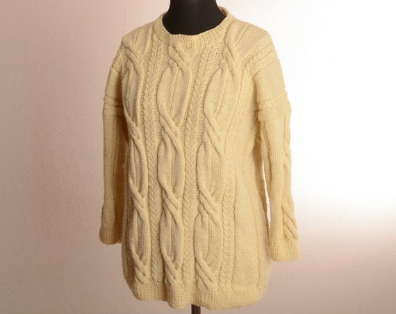 Vintage Thick Chunky Cable Knit Sweater - Hand Kni