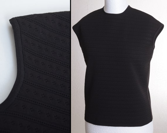Vintage 60s Sleeveless Knit-Top with 1/4-Zip on Ba