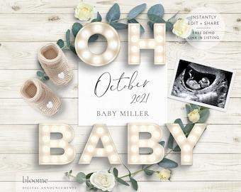 light box PERSONALIZED digital pregnancy announcement for social media custom baby announcement gender reveal instagram facebook rustic