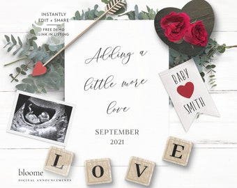 PERSONALIZED digital VALENTINES DAY pregnancy announcement for social media custom baby announcement gender reveal instagram love heart