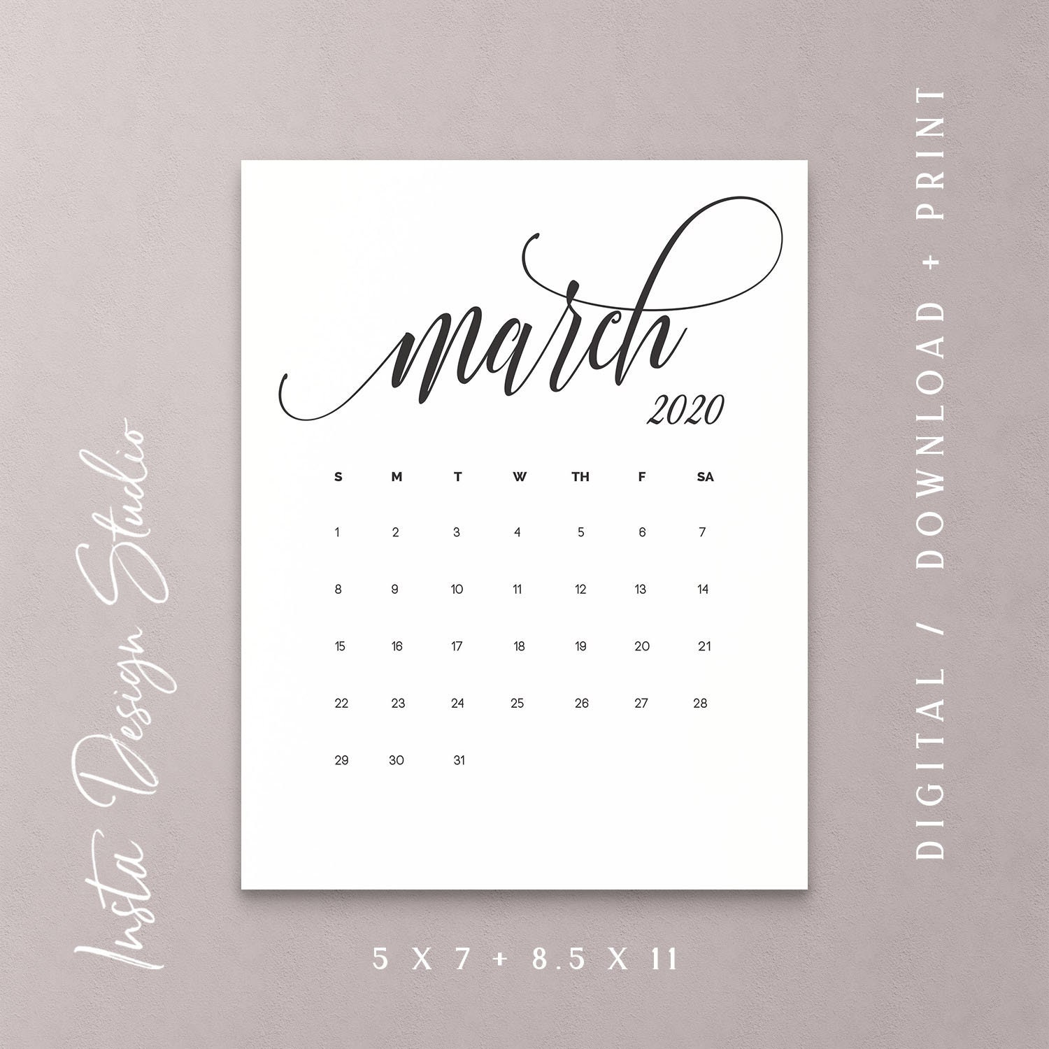 photograph relating to Printable Pregnancy Calendar named MARCH 2020 printable being pregnant kid announcement calendar social media flat lay picture prop owing day conserve the day electronic record down load
