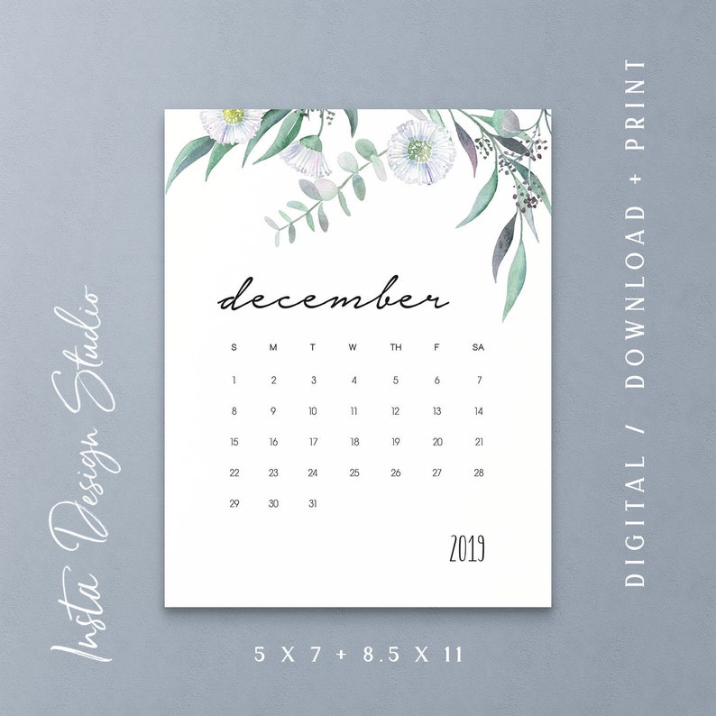 DECEMBER 2019 printable pregnancy baby announcement calendar social media  flat lay photo prop due date save the date digital file download