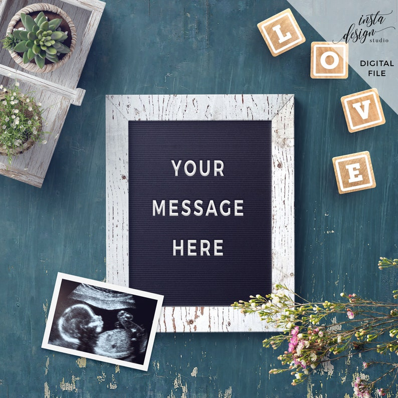 Customized Rustic Letterboard style digital social media pregnancy baby announcement template calendar due date flatlay instagram facebook