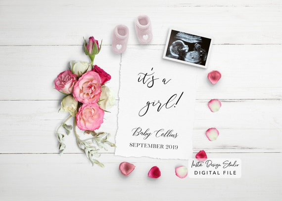 Birth Announcement Template Digital New Baby Editable Pregnancy Announcement Due Date Card Baby Announcement Its A Boy Gender Reveal