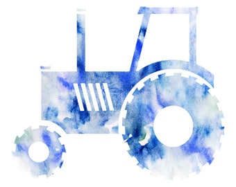 Classic Tractor Abstract Watercolor Print