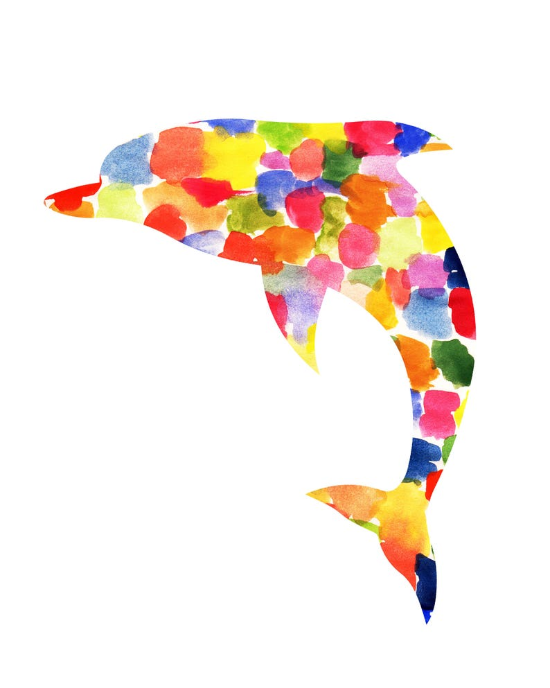 Dolphin Abstract Watercolor Art Print