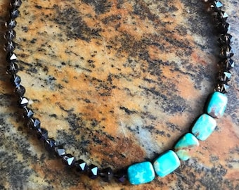 Star cut faceted smoky quartz necklace with turquoise beads