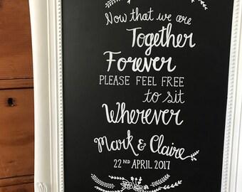 Personalised wedding chalkboard sign