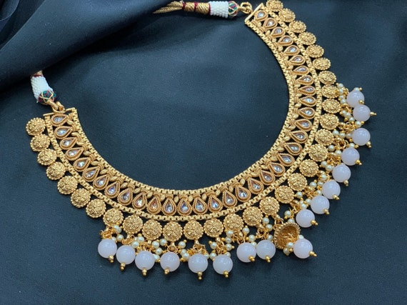 Indian Gold Necklace Set Traditional Polki Necklace With Etsy