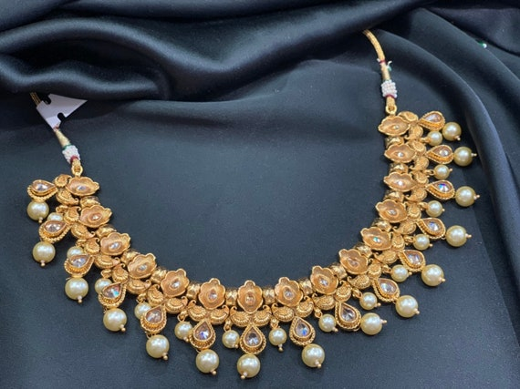 Gold Necklace Set With Pearl Accentschoker Round Jewellery Etsy